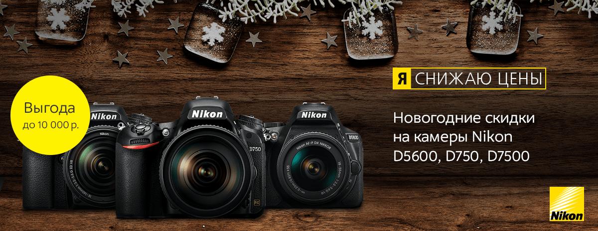 Новогодние скидки на камеры Nikon D5600, D750, D7500